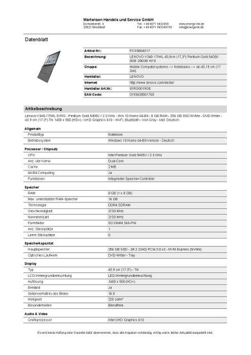 """LENOVO V340-17IWL 43,9cm (17,3"""") Pentium Gold 5405 U 8GB 256GB W10 – Bild 6"""