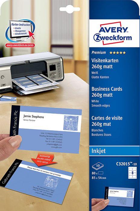 AVERY Zweckform C32015-10 Premium Visitenkarten, blanko 100 Stück, 260g, 85x54 mm, beidseitig bedruckbar, matt weiß, absolut glatte Kanten, 10 Blatt