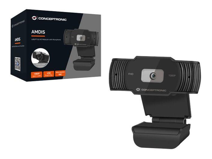 [Paket] CONCEPTRONIC Webcam AMDIS 1080P Full HD Webcam+Microphone