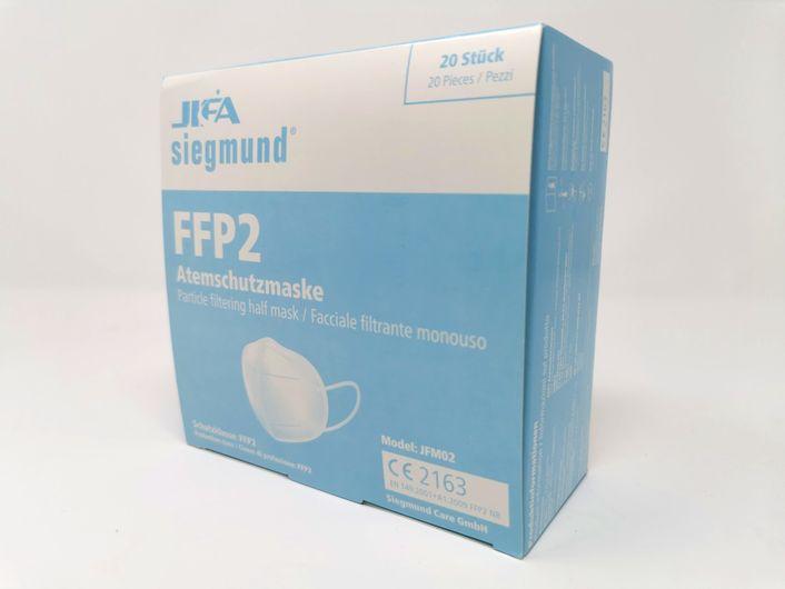 20x siegmund  FFP2 Atemschutzmasken zertifiziert nach FFP2-Norm (Maske gefaltet, Modell JFM02) CE2163