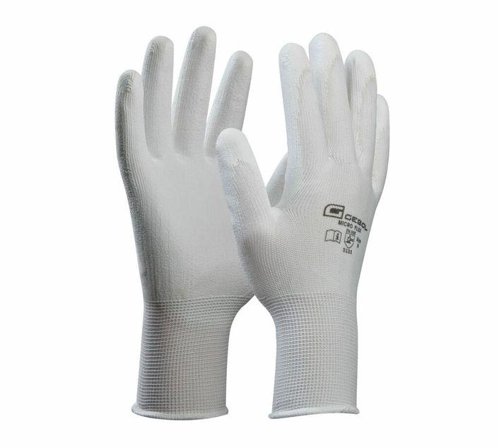Gebol Handschuh Micro Flex weiß Gr. 7 / 8 / 9 / 10 / 11 / S / M / L / XL / XXL  - 709241 / 709242 / 709243 / 709244 / 709245