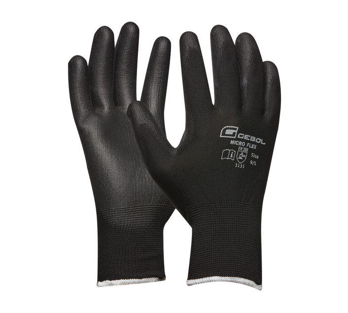 Gebol Handschuh Micro Flex schwarz Gr.  8 / 9 / 10 / 11 / S / M / L / XL / XXL  - 709242S / 709243S / 709244S / 709245S