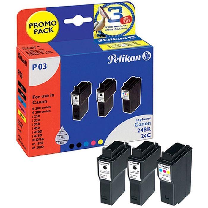 Pelikan Multipack P03 ersetzt Canon 24BK / 24C - 3 Tintenpatronen
