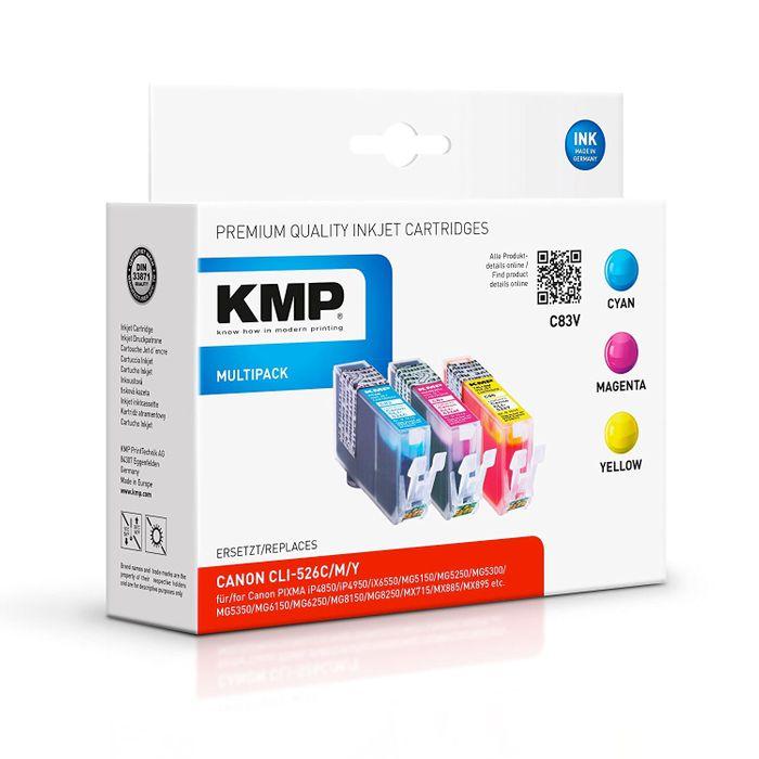 KMP C83V Multipack Canon CLI-526 kompatibel - 3 Tintenpatronen