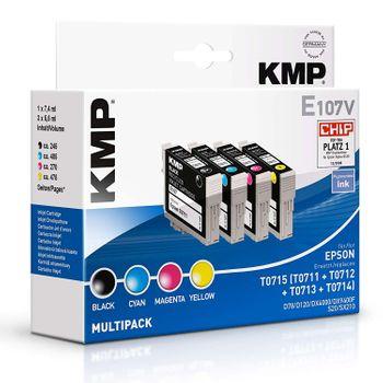 KMP Multipack E107V kompatibel Epson T0715 - 4 Tintenpatronen