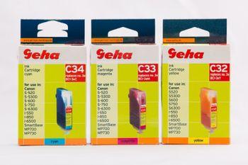 Geha Farbset C32-C34 kompatibel Canon BCI-3e M/Y/C 3 Patronen