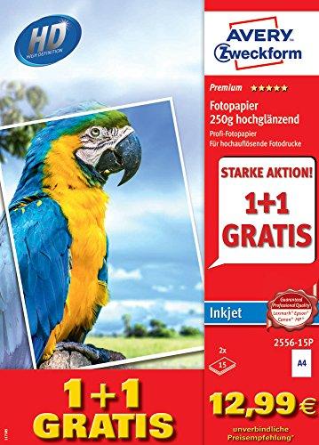 AVERY Zweckform 2556-15P Premium Inkjet Fotopapier (A4, einseitig beschichtet, 250 g/m², 30 Blatt)