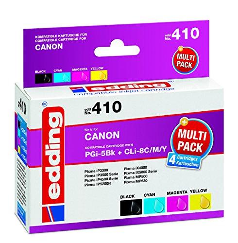 edding EDD-410 Multipack ersetzt Canon PGi-5Bk und CLi-8C / CLi-8M / CLi-8Y