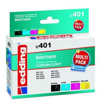 edding EDD-401 Multipack ersetzt Brother LC900 - 4 Druckerpatronen