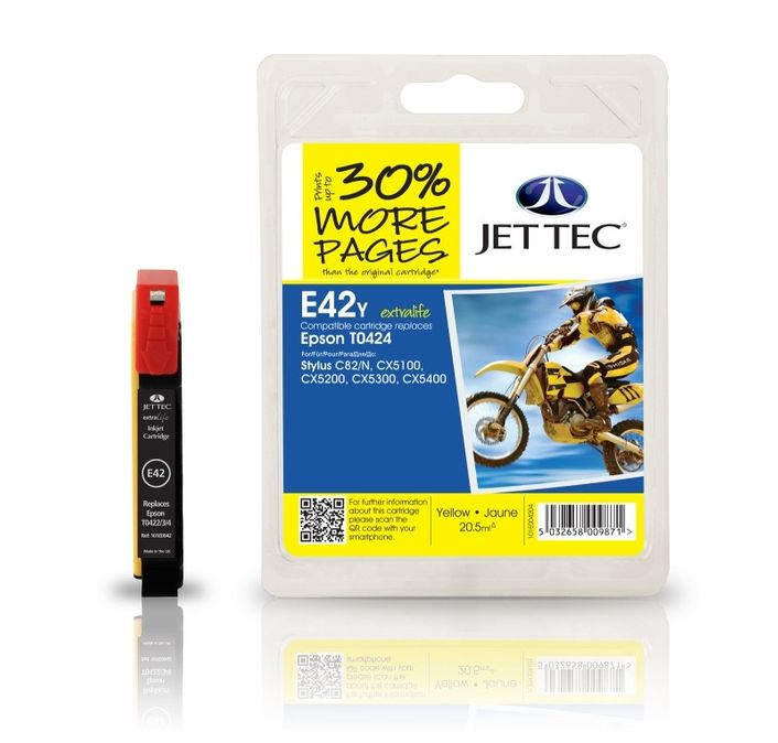 Jet Tec E42y Druckerpatrone kompatibel für Epson T0424 Gelb Epson Stylus C82, CX5100, CX5200, CX5300