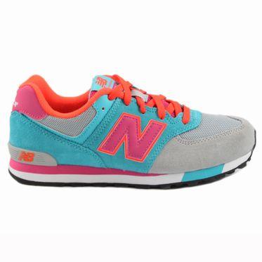New Balance Damen/Kinder Sneaker KL574WTG Grey/Blue-Lila/Orange