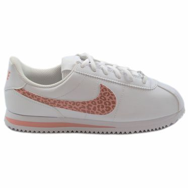 Nike Damen/Kinder Sneaker Classic Cortez Basic SL Leather White/Coral Stardust-Rust Pink