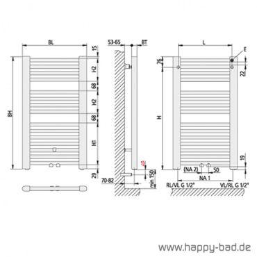 Kermi Basic 50 Badheizkörper mit Mittelanschluß Höhe 1172mm x Breite 450mm, E001M1200452XXK – Bild 3