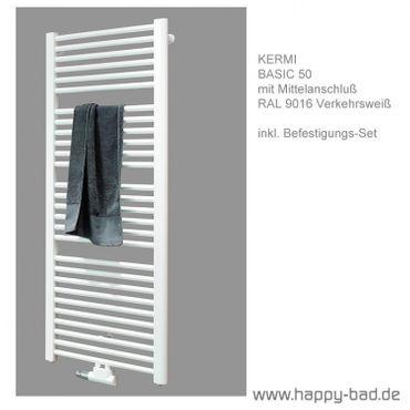 Kermi Basic 50 Badheizkörper mit Mittelanschluß Höhe 1448mm x Breite 450mm, E001M1500452XXK