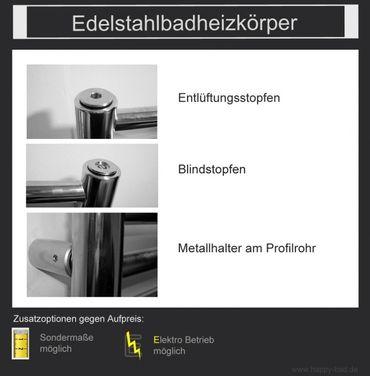Edelstahl Badheizkörper gerade 1490x750mm – Bild 2
