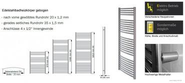 Edelstahl Badheizkörper gebogen 1490x750mm – Bild 5