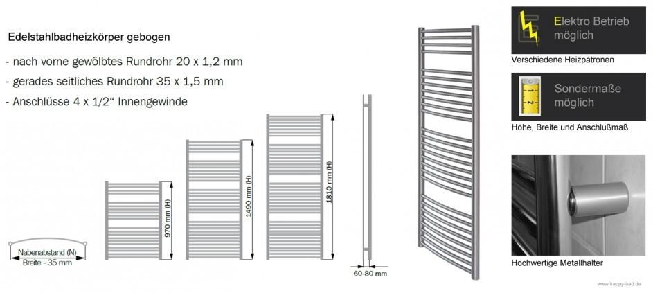 Edelstahl Badheizkörper Gebogen 1690x500mm