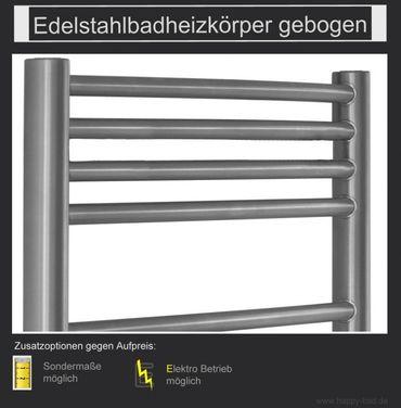Edelstahl Badheizkörper gebogen 1810x500mm – Bild 1