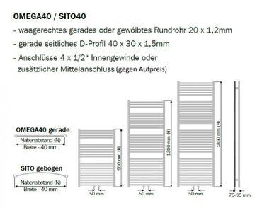 Badheizkörper O40 gerade 1650x600mm – Bild 3