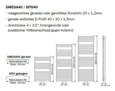 Badheizkörper O40 gerade 1850x750mm – Bild 3