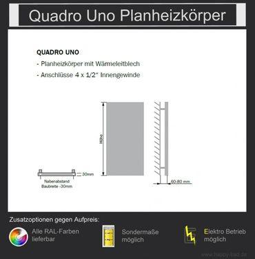 Quadro Uno Planheizkörper 1490mm x 480mm – Bild 3
