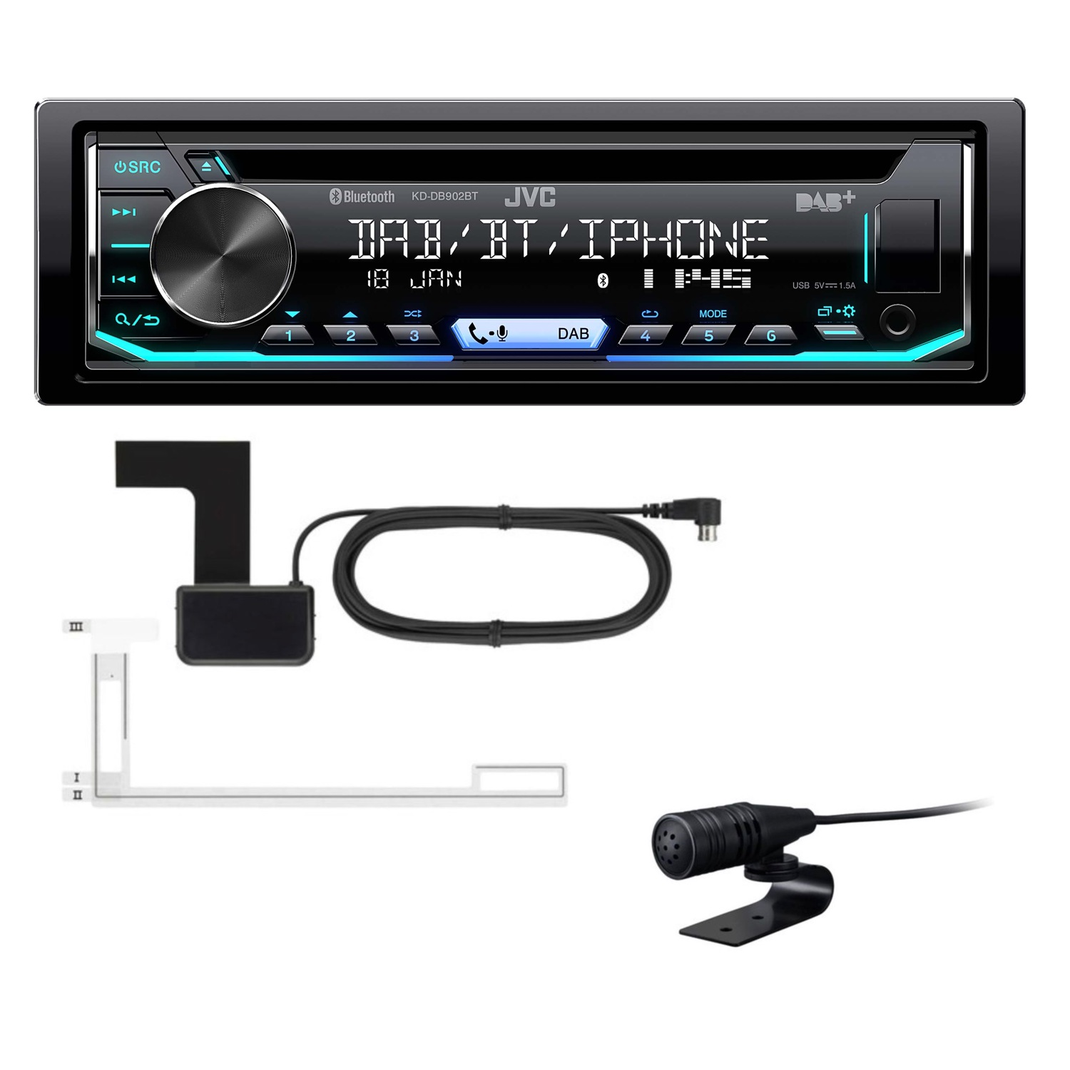 jvc kd db902bt usb cd mp3 flac autoradio bluetooth. Black Bedroom Furniture Sets. Home Design Ideas