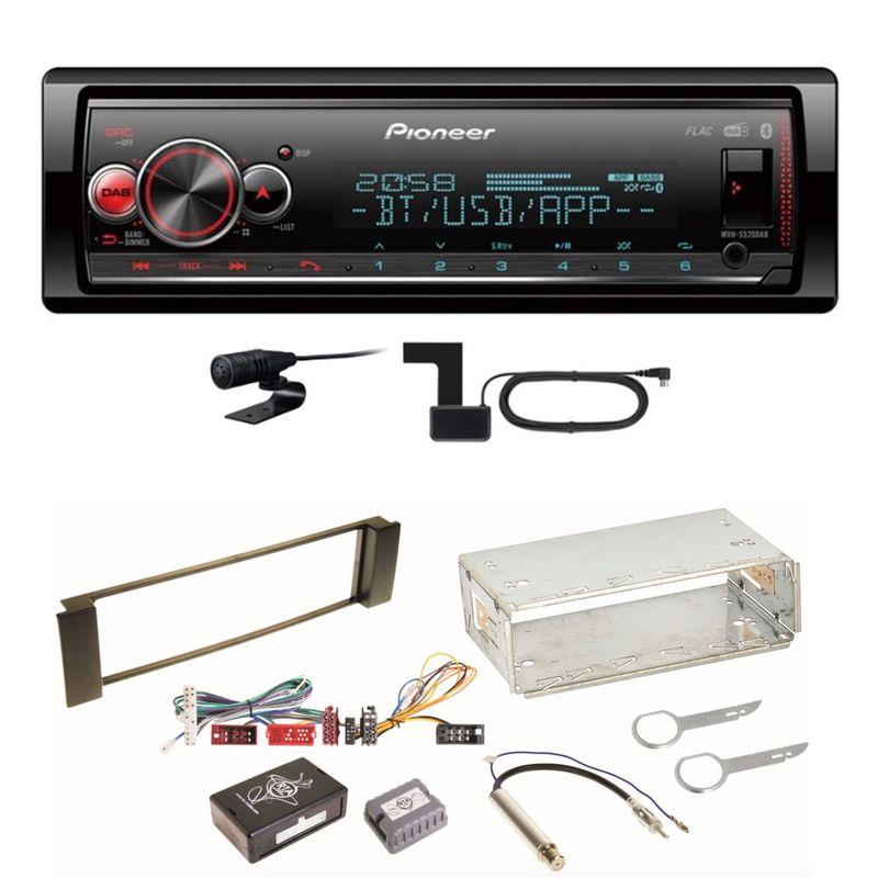 Pioneer MVH-S520DAB USB FLAC DAB+ Bluetooth MP3 Einbauset für Audi A3 8L A6 4B