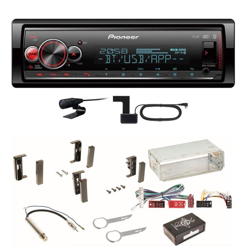 Pioneer MVH-S520DAB USB FLAC Digitalradio Bluetooth Einbauset für Audi A3 8L