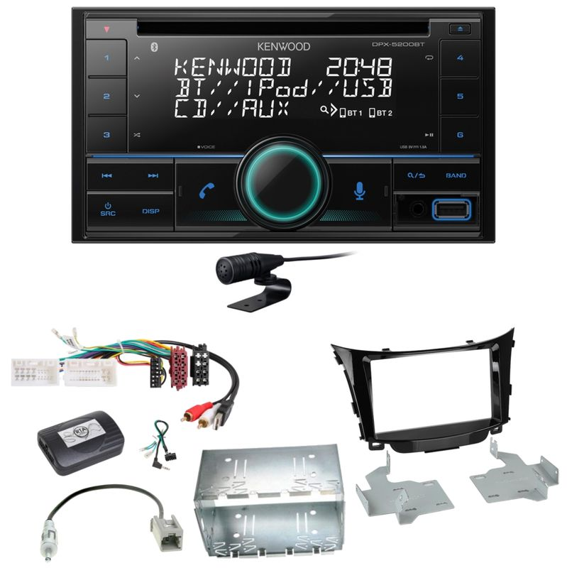 Kenwood DPX-5200BT Bluetooth USB CD Autoradio Einbauset für Hyundai i30 GD GDH