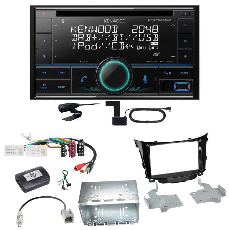 Kenwood DPX-7200DAB Bluetooth USB CD Autoradio Einbauset für Hyundai i30 GD GDH