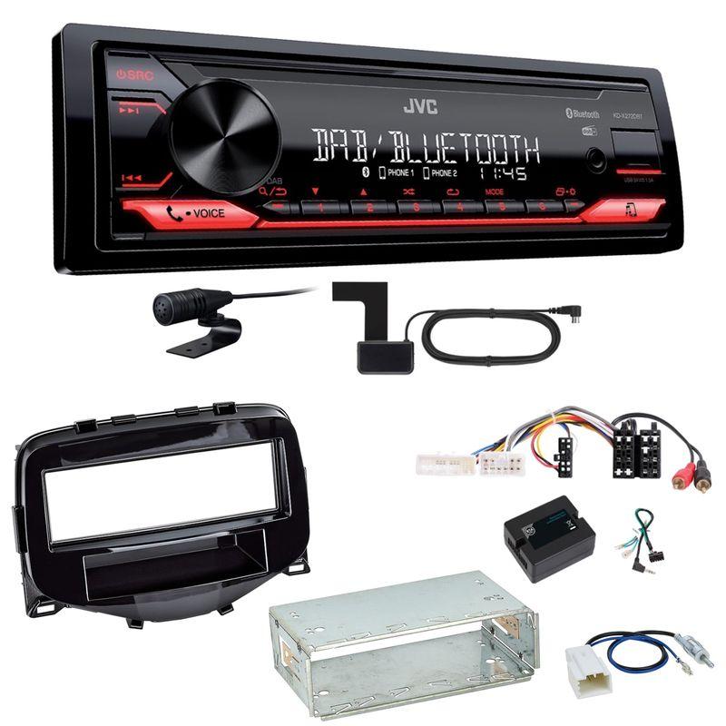 JVC KD-X272DBT Digitalradio USB MP3 Einbauset Toyota Aygo Peugeot 108 Citroen C1
