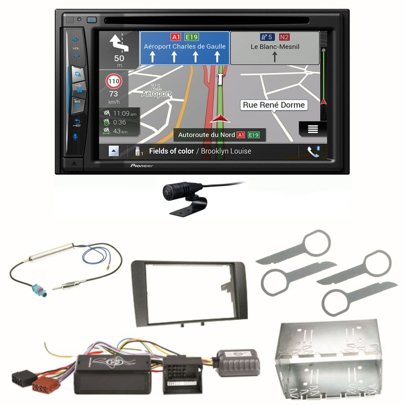 Pioneer AVIC-Z630BT Bluetooth Navigation CD MP3 USB Einbauset für Audi A3 8P 8PA