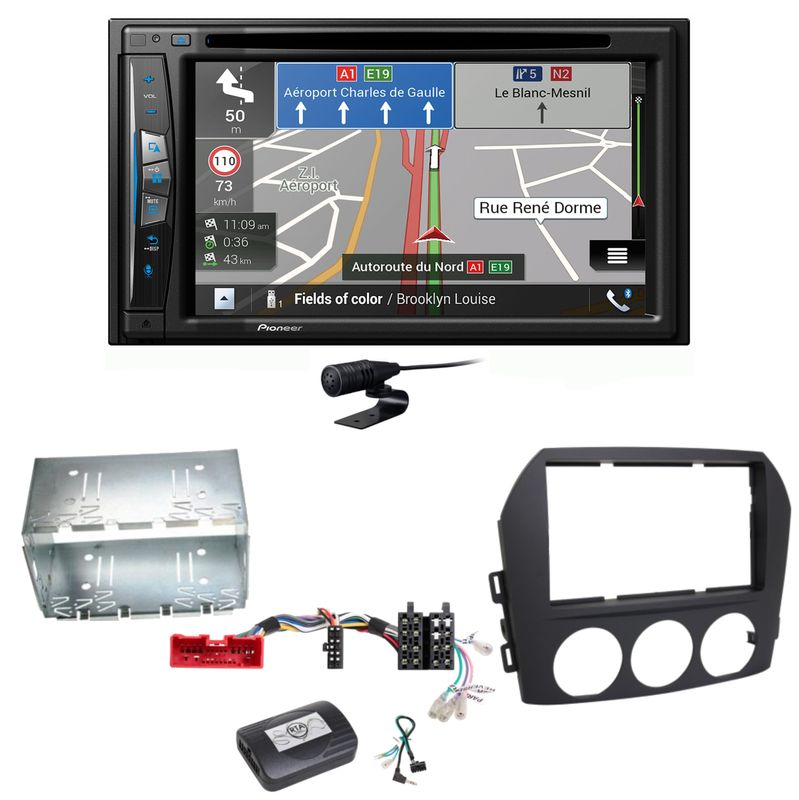 Pioneer AVIC-Z630BT Navigation Bluetooth USB MP3 Einbauset für Mazda MX-5 NC FL