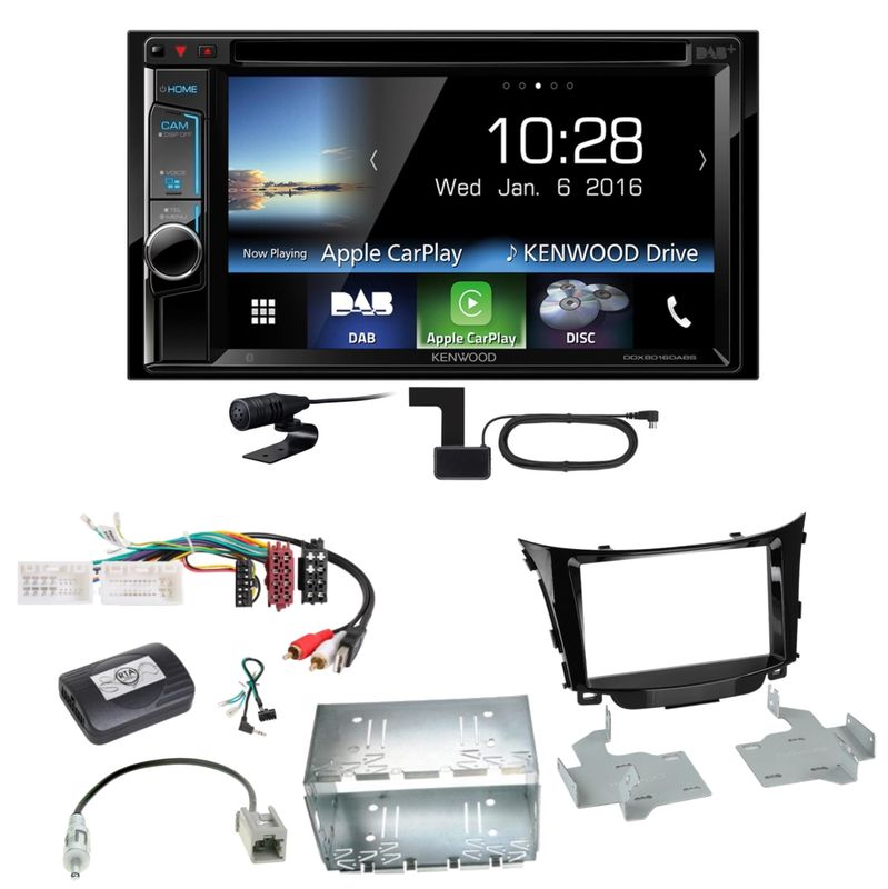 Kenwood DDX-8016DABS Carplay Digitalradio Einbauset für Hyundai i30 GD GDH