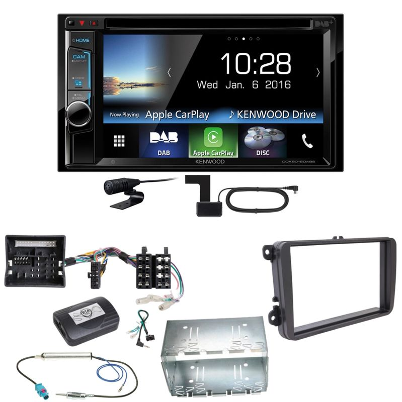 Kenwood DDX-8016DABS Carplay Digitalradio Einbauset für Tiguan Amarok Caddy Jetta