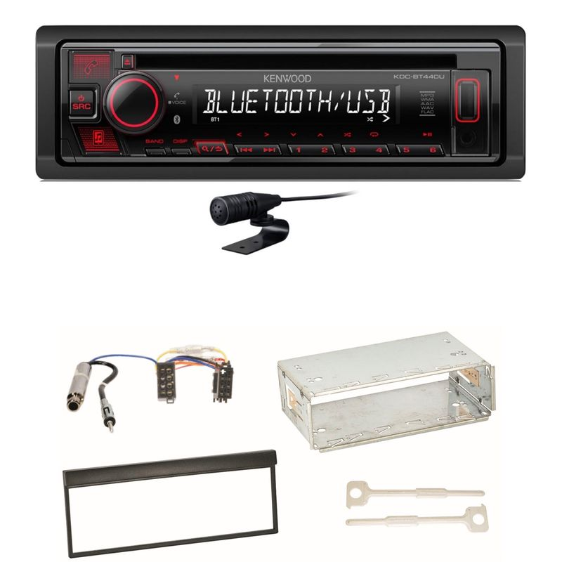 Kenwood KDC-BT440U Bluetooth USB Autoradio CD MP3 Einbauset für Skoda Fabia 6Y