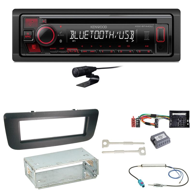 Kenwood KDC-BT440U Bluetooth USB CD MP3 Einbauset für Skoda Fabia 2 Roomster