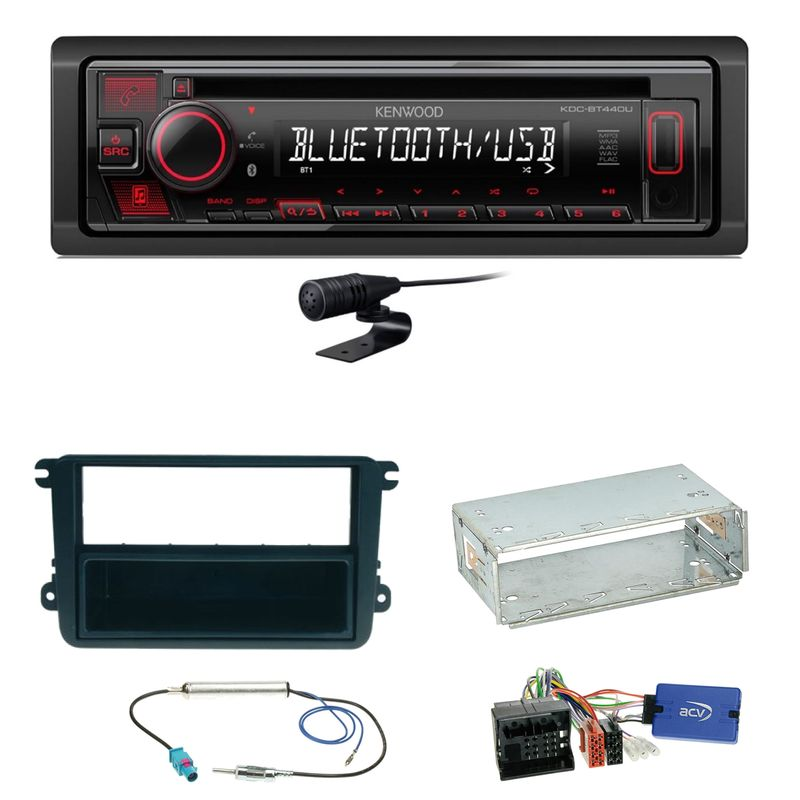 Kenwood KDC-BT440U Bluetooth USB MP3 Einbauset für Beetle Jetta Sharan Tiguan T5