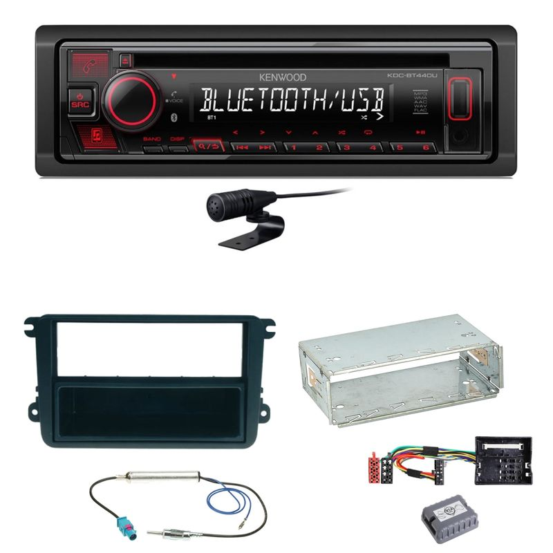 Kenwood KDC-BT440U Bluetooth USB CD Einbauset für EOS Polo Caddy Amarok Scirocco