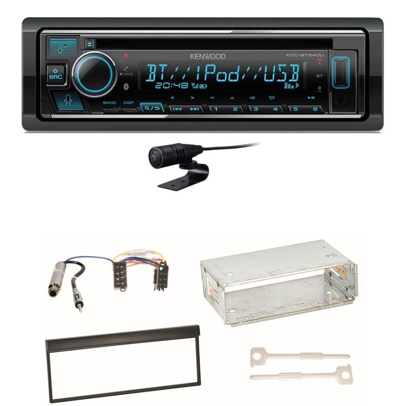 Kenwood KDC-BT640U Bluetooth USB Autoradio CD MP3 Einbauset für Skoda Fabia 6Y