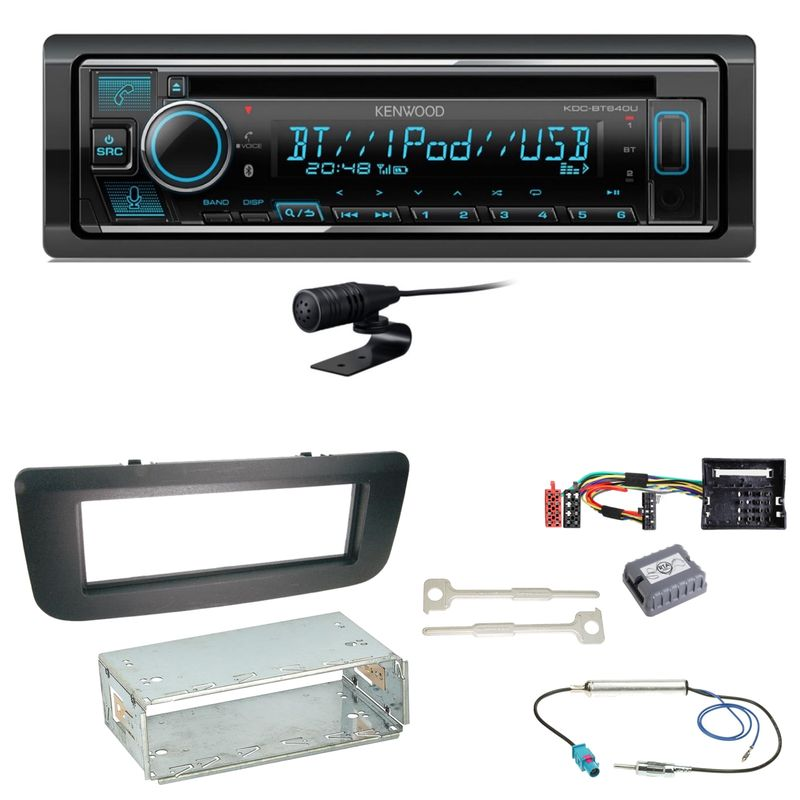 Kenwood KDC-BT640U Bluetooth USB CD MP3 Einbauset für Skoda Fabia 2 Roomster