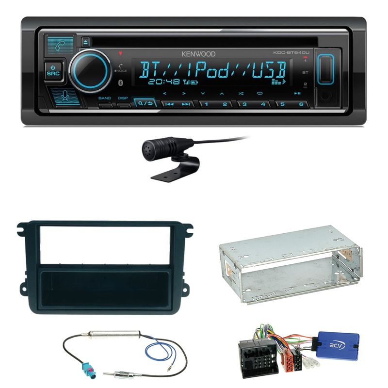 Kenwood KDC-BT640U Bluetooth USB MP3 Einbauset für Beetle Jetta Sharan Tiguan T5