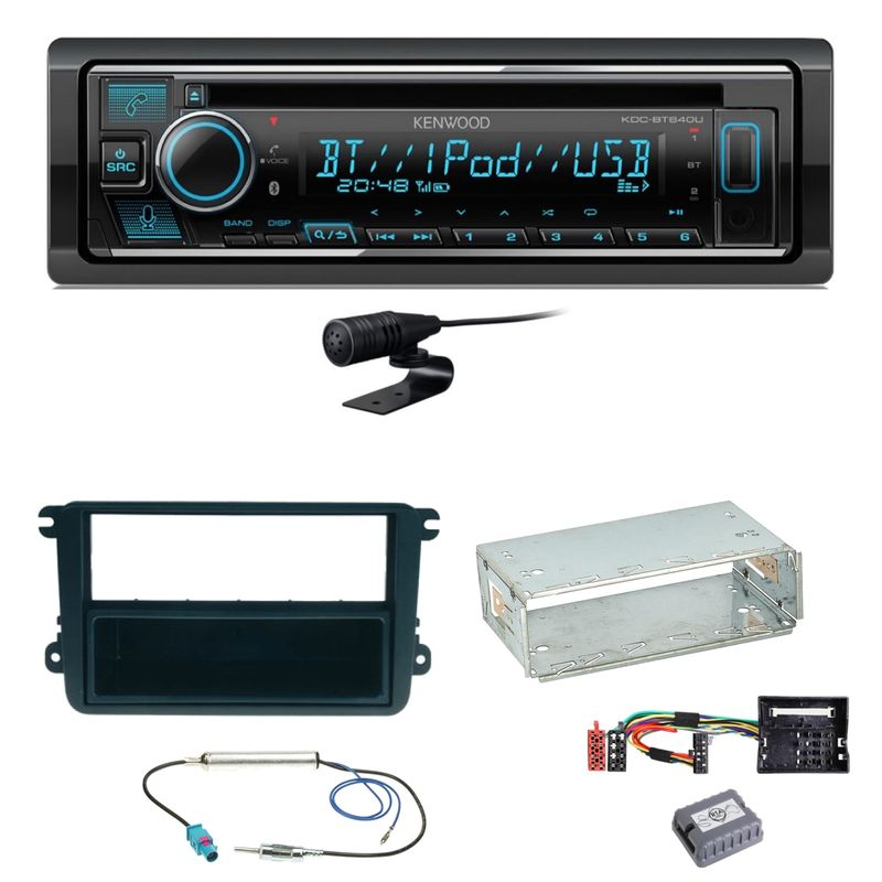 Kenwood KDC-BT640U Bluetooth USB CD Einbauset für EOS Polo Caddy Amarok Scirocco