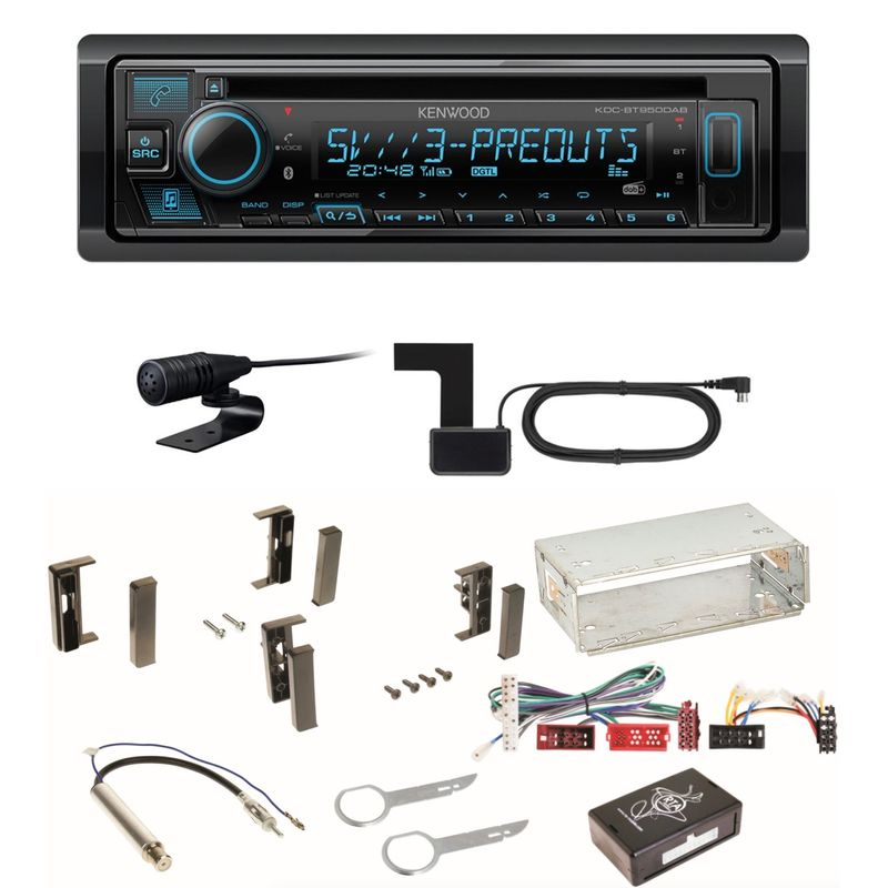 Kenwood KDC-BT950DAB Bluetooth Digitalradio Einbauset für Audi A3 8L
