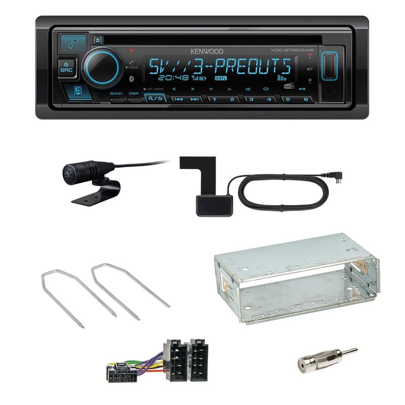 Kenwood KDC-BT950DAB Bluetooth Digitalradio Einbauset für Dacia Duster bis 2012