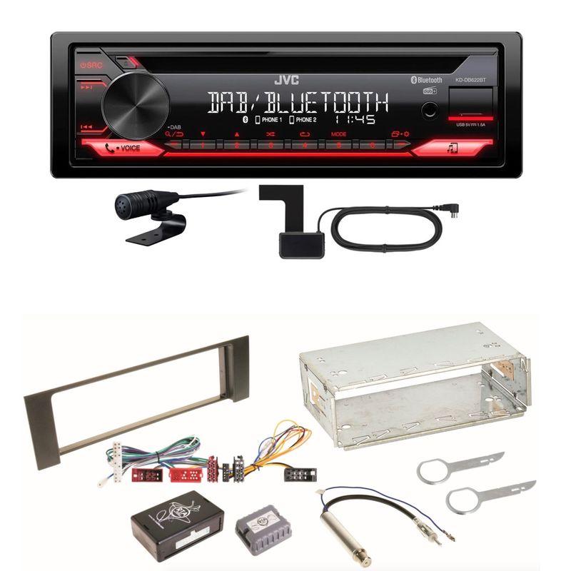 JVC KD-DB622BT Bluetooth DAB+ CD USB FLAC Autoradio Einbauset für Audi A4 B6 B7