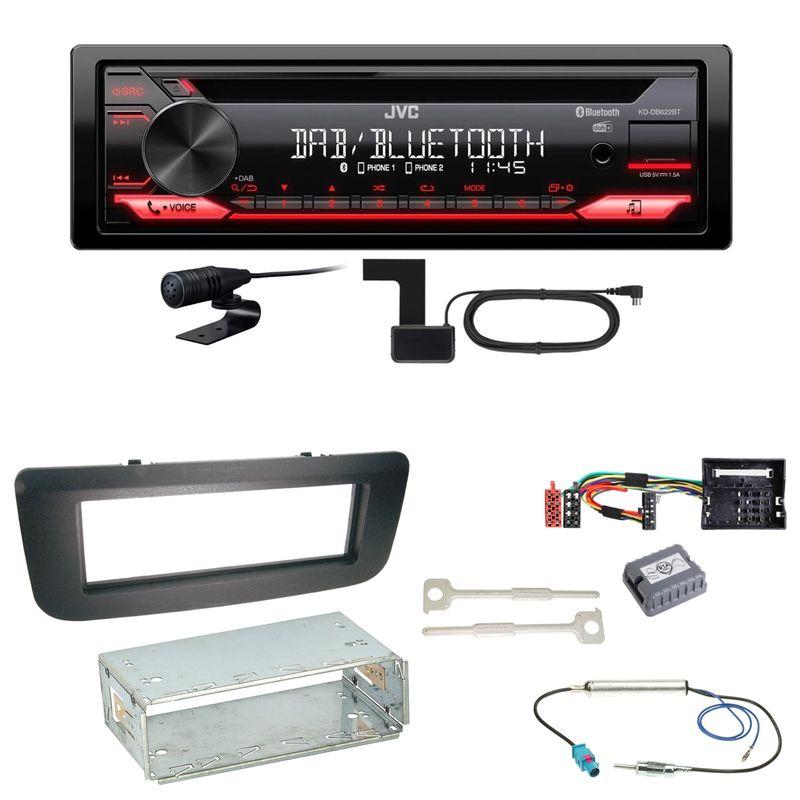 JVC KD-DB622BT Bluetooth Digitalradio FLAC Einbauset für Skoda Fabia 2 Roomster