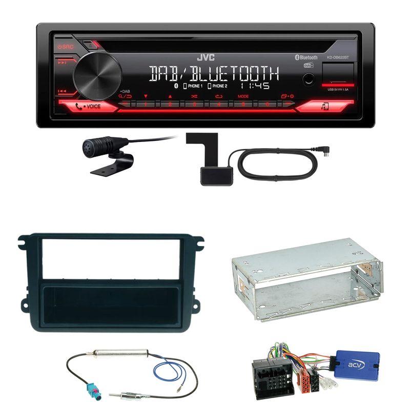 JVC KD-DB622BT Bluetooth DAB+ FLAC Einbauset für EOS Polo Caddy Amarok Scirocco