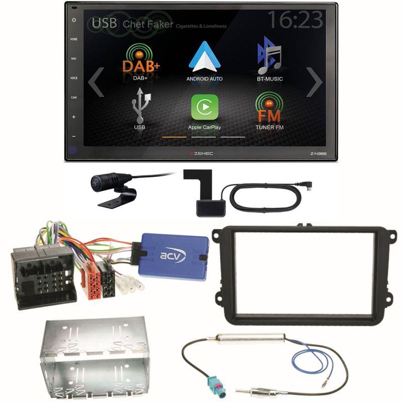 Zenec Z-N966 Moniceiver CarPlay DAB+ USB Einbauset für Beetle Jetta Sharan T5