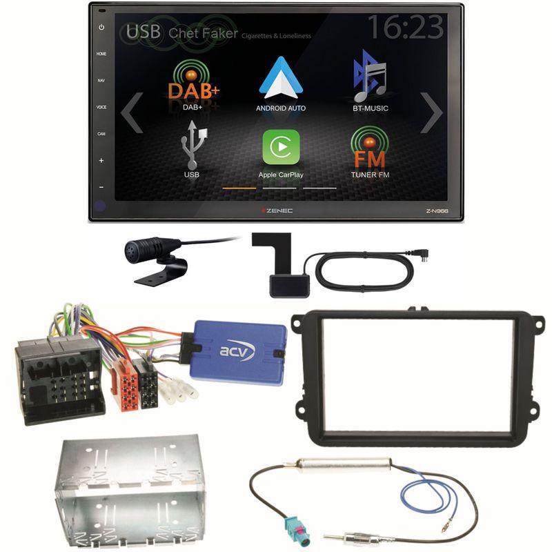 Zenec Z-N966 Moniceiver CarPlay USB Einbauset für EOS Polo Caddy Amarok Scirocco